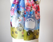 Totoro silk scarf - hand painted scarves with My Neighbor Totoro and Dust Bunnies - Soot Sprites - Flower scarf - Poppies Mallows Strawberry