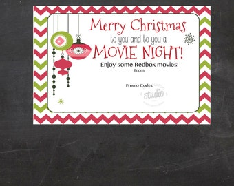 Christmas Redbox Movie Printable - use it to gift promo codes or code  - Movie Night Redbox Gift Certificate (Instant Download)