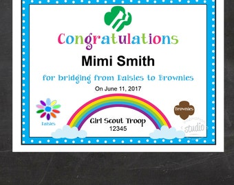 Girl Scout Bridging Certificate - Daisies to Brownies {Instant Download}, Girl Scout Printable, Girl Scout Leader, Fillable PDF