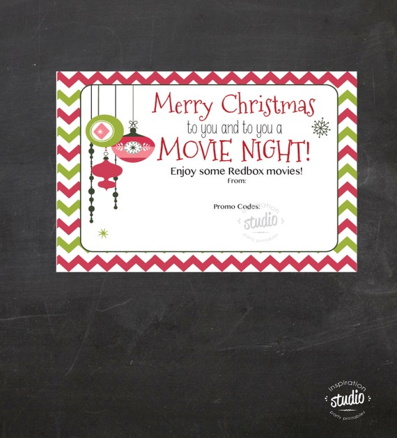 Christmas Redbox Movie Printable - use it to gift promo codes or ...