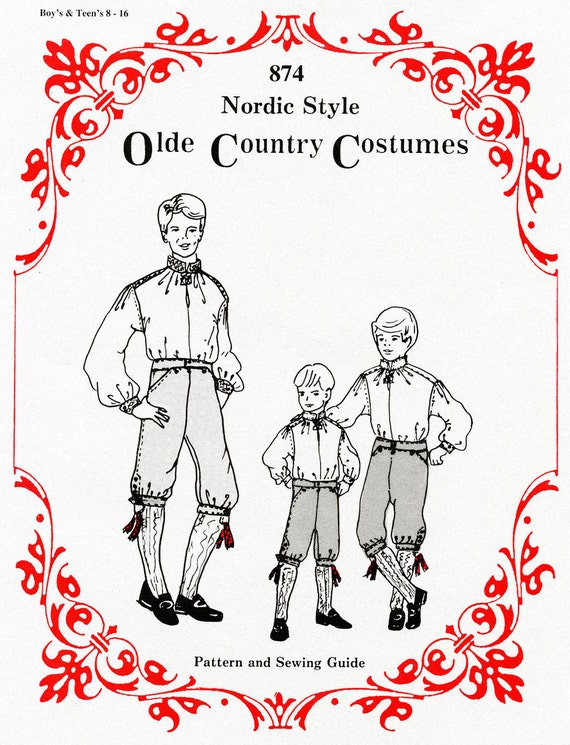 Boys Nordic Style Shirt & Knickers sizes 8-16 Olde Country Costumes Sewing Pattern # 874