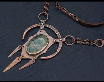 Rustic copper necklace: Prehnite jewelry - Elven necklace - Statement necklace metalwork - Hand Forged Copper Jewelry - Druid necklace