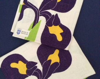 Pair Linen Towels VIVID PURPLE, Green & Yellow Bold Modern Design on 100% Linen, New Old Stock, Made in Belgium