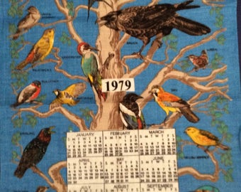 TWITCHERS for you! Birds in Britain Linen/Cotton Kitchen /TeaTowel,  by Richlin, 1979 Calendar Linen Towel or Wall Hanging, New Old Stock