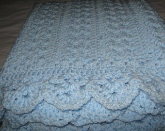 New Hand Crochet Blue Adult Lap Blanket or Baby Blanket
