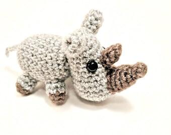 Small amigurumi rhino - crochet soft toy - stuffed animal - baby rhino - rhino art-  light grey - handmade crochet animals - MADE TO ORDER