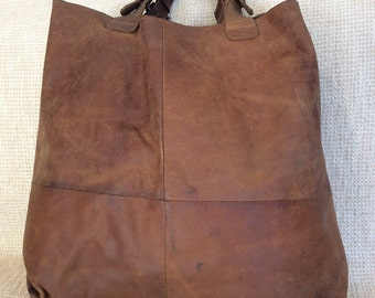 Vintage genuine oiled brown leather shopping tote work bag distressed bohemian