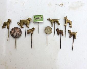 Vintage Dog Pins. Hat pin. Stick pin. Lapel pin. Hunting. Dog Dogs. Hound. Sheep dog. German Shepard. Schnauzer. Figural. Pin Mid century LA