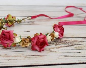 Handcrafted Hot Pink Gold and Ivory Flower Crown - Flower Girl Halo - Woodland Flower Crown - Pink Rose Headpiece - Pink Boho Flower Crown