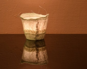 Tealight holder, Felt lantern, Candle holder, Nature design, Handfelted lamp, Luminaries, Felted decoration, Interior felt, christmas light