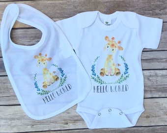 Baby Shower Gift, Gender Neutral, Hello World Newborn Outfit, Newborn take home outfit, Safari animals nursery, baby take home outfit