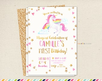Unicorn birthday glitter invitation