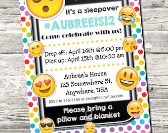 Emoji Sleepover Slumber Party Pajama Party Cell Phone Birthday Party Invitation Rainbow Polka Dots with free Thank You Digital Printable