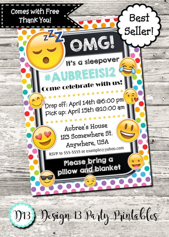 Emoji Sleepover Slumber Party Pajama Party Cell Phone Birthday – Cell Phone Birthday Invitations