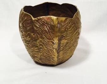 Brass cabbage pot, Large brass cabbage, Brass pot, Vintage brass pot, Large brass planter, Brass vegetable, Brass cabbage bowl