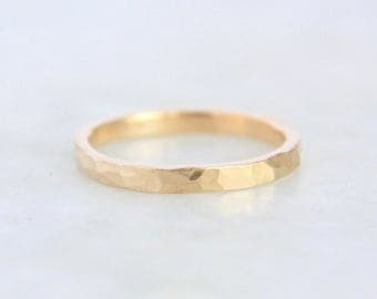 Gold Wedding Ring, Womens wedding band, Hammered Gold  Ring 14k Yellow Gold,  Rectangular Band, Eco Friendly Recycled Gold, women ring
