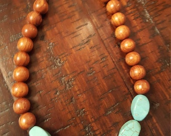 Wood beads with semi precious turquoise stones
