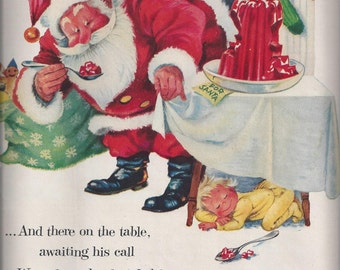 1955 Life Magazine Ad for Jell-O featuring Santa Claus, Merry Christmas from Jell-O, Vintage Advertising, Ephemera, Vintage 1955 Magazine