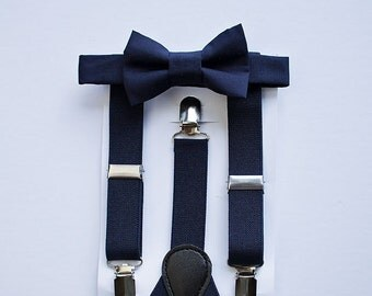 Navy Bow Tie Suspenders for Boys To Men, Navy Wedding Bow Tie Suspenders Set, Baby Boy Suspenders, Ring Bearer Outfit, Mens Bow Tie, Wedding