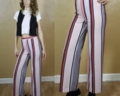 1950's Vintage High Waisted Polyester Pin Striped Pants