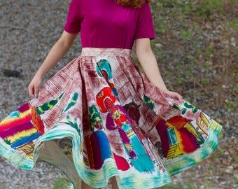 1950s Hand Painted Mexican Full Circle Skirt Rockabilly Tel-Art Souvenir Skirt