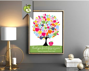 Teacher apple tree, personalised teacher gift, Class Names, Teacher Appreciation Gift, End of year, Personalized, Customizable, printable
