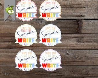 pencil favor tag, graduation tag, summer class gift, start summer off write, friends gift tag, summer tag printable tag, end of year tag