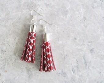 Red Tassel Earrings, Leather Earrings, Boho Jewelry, Leather Jewellery, Leather Drop Earrings, Sterling Silver, Nickel Free Earrings