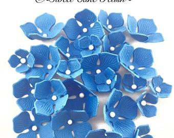 12 Gumpaste Hydrangeas  Sugar Hydrengeas  Fondant Flowers  Cake toppers  Gumpaste flowers  Flower topper  Cake decorations  Blue Hydrangeas