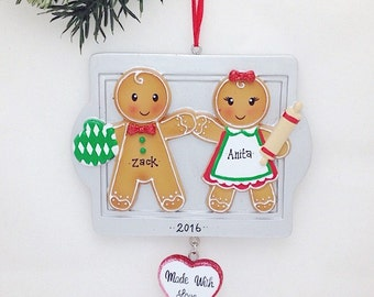 FREE SHIPPING 2 Gingerbread Personalized Christmas Ornament / Gingerbread Couple Ornament / First Christmas Ornament