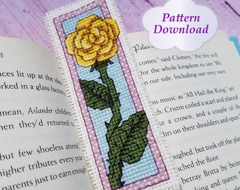 Yellow Rose Cross-Stitch Bookmark Pattern - PDF Download