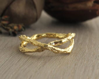 14K Gold Twig Ring, Twig Wedding Ring, Branch Ring, Bark Ring, Unique Infinity Ring, 14k Gold Ring, Natural Ring, Botanic Ring, Unique Ring