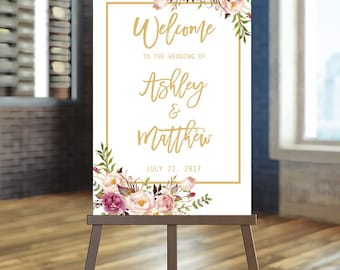 Welcome Wedding Sign, Blush and gold welcome Sign, Printable Wedding Sign, Rustic wedding Sign, Rose Wedding Sign, Romantic wedding, Elegant