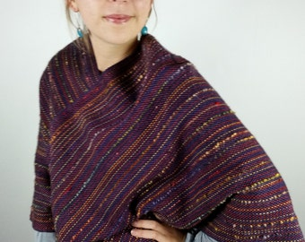 Handwoven Poncho in Luxurious Wool and Silk Purple, Cinnabar & Curry