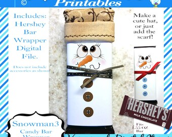 Hershey 1.55oz Candy Bar Wrapper, Christmas - Snowman Face, Brown eyed snowmen