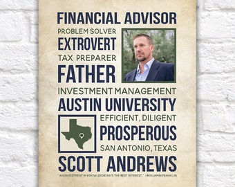 Career Gift, Financial Advisor Gift, Personalized Gifts for Men, Boss, Retirement Gift, Gift for Husband, Father, Fathers Day | WF151