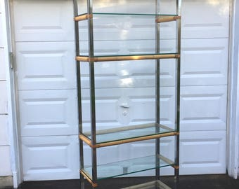Mid-Century Chrome and Bamboo Etagere Display Shelf