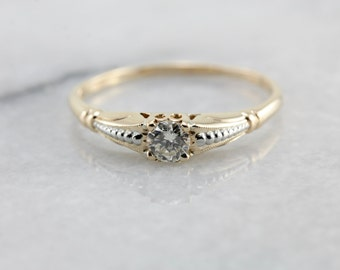Petite Diamond Engagement Ring in Two Tone Gold TYKNHL-N