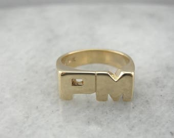 Vintage PM Initial Pinky Ring in Yellow Gold XNC771-D