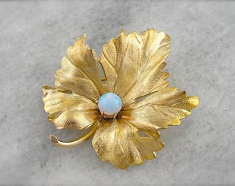 Realistic Maple Leaf Brooch with Opal Set at the Center FYX5AD-D