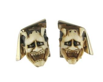 Florenza Devil Cufflinks/ Florenza Noh Mask Shiro Hannya Gold Tone Cuff Links/ Japanese Theater 白般若 Cufflinks / White Hannya Mask Cufflinks