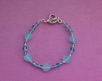 Blue beaded bracelet, light blue bracelet, heart bracelet, blue crystal bracelet, sweet 16 bracelet, sky blue bracelet, gift idea for teen