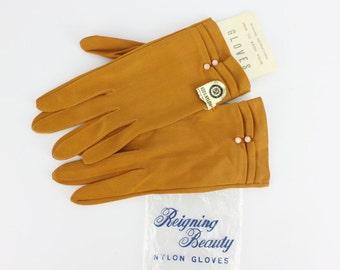 Vintage New Old Stock Orange Rust Nylon Gloves