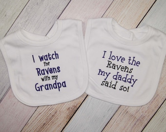 Baltimore Ravens Embroidered Bib Set - Ravens Baby Girl - Baltimore Ravens Football Fan - Ravens Baby Boy - I watch I love the Ravens