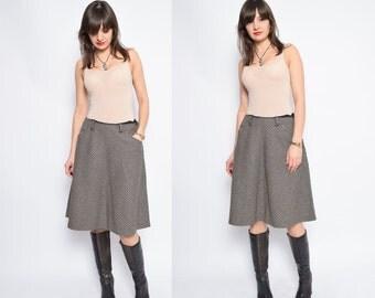 Vintage 90'Plaid Wool Skirt / High Waisted Midi Skirt - Size Medium