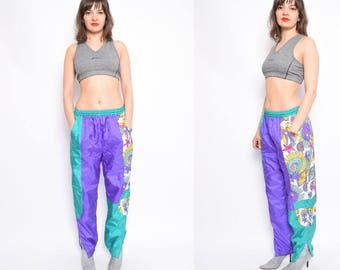 Vintage 80's Color Block Windbreaker Pants / Colorful Sports Pants - Size Small