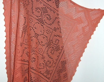 Laura Ashley vintage 80's, new with tag, washed-coral, 100% cotton knit lace cobweb scarf shawl wrap