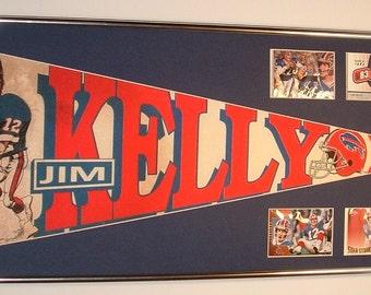 Vintage Buffalo Bills Jim Kelly pennant and football cards!!Custom Framed