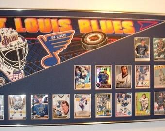 St Louis Blues Hockey Pennant & Cards Retrospective...Custom Framed!!!