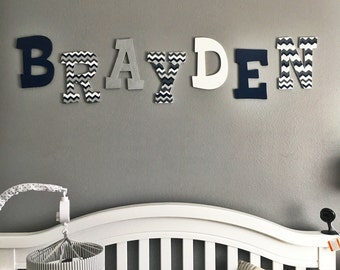 Nursery Wall Letters, Blue, Silver, White, Grey and Chevron